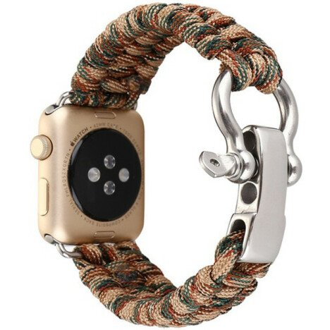 Curea iUni compatibila cu Apple Watch 1/2/3/4/5/6, 42mm, Elastic Paracord, Rugged Nylon Rope, Brown